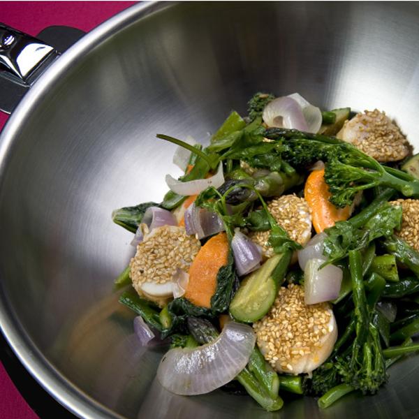 wok legumes verts st jacques